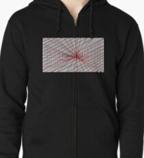 Black white and red all over Zipped Hoodie