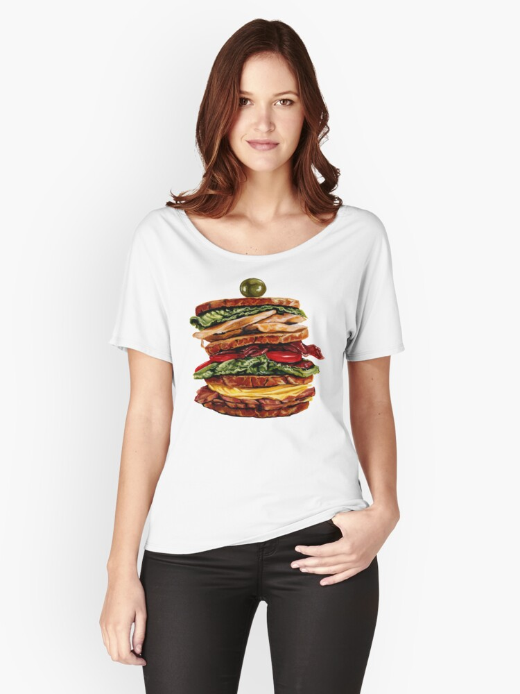 Turkey Club on Rye Sandwich Women's Relaxed Fit T-Shirt Front