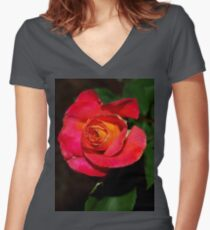Rose glory Women's Fitted V-Neck T-Shirt