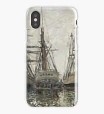 Claude Monet - Boats In A Harbour 1873. Famous Paintings. Impressionism iPhone Case/Skin