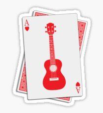 Ukulele Hearts Playing Card Sticker