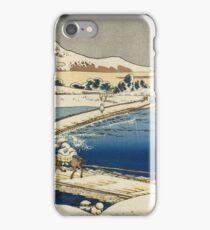 Vintage famous art - Hokusai Katsushika - Pontoon Bridge At Sano, Kozuke Province, Ancient View iPhone Case/Skin