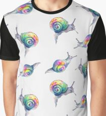Rainbow Snails Hand-Painted Pattern Graphic T-Shirt