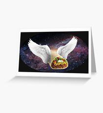 Flying Space Burrito - elipse Greeting Card
