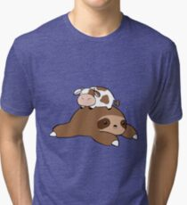 Sloth and Tiny Cow Tri-blend T-Shirt