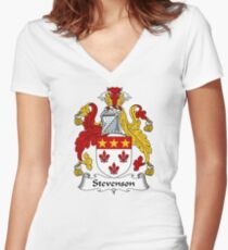 Stevenson Coat of Arms / Stevenson Family Crest Women's Fitted V-Neck T-Shirt