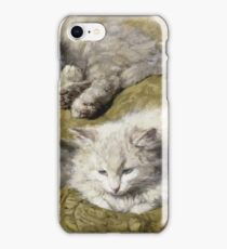 Vintage famous art - Henriette Ronner - Studies Of A Long-Haired White Cat iPhone Case/Skin