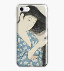Vintage famous art - Hashiguchi Goyo - Woman Combing Her Hair (Kami Sukeru Onna) iPhone Case/Skin