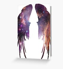 Angel Pink Galaxy Wings Greeting Card