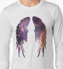 Engels-Rosa-Galaxie-Flügel Langarmshirt
