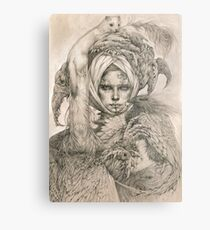Fairy lady with ermine and birds Metal Print