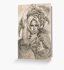 Fairy lady with ermine and birds Greeting Card