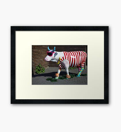 Painted Cow on Holiday - at Floriade Framed Print