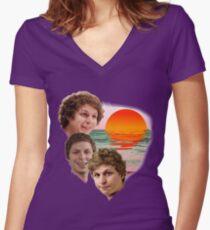 3 Cera Sunset Women's Fitted V-Neck T-Shirt