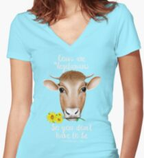 Cows are Vegetarians Funny Saying Women's Fitted V-Neck T-Shirt