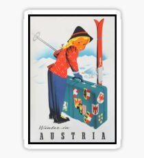 Winter in Austria Vintage Travel Poster Sticker