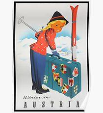 Winter in Austria Vintage Travel Poster Poster