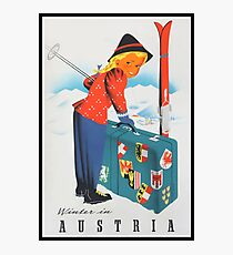Winter in Austria Vintage Travel Poster Photographic Print
