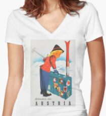 Winter in Austria Vintage Travel Poster Women's Fitted V-Neck T-Shirt