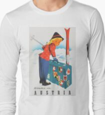 Winter in Austria Vintage Travel Poster Long Sleeve T-Shirt