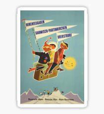 Austria, Germany Bavarian Alps Vintage Travel Poster Sticker