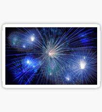 Bright Blue and White Fireworks Sticker