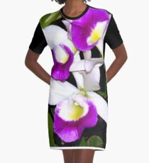Purple and white pond orchids Graphic T-Shirt Dress