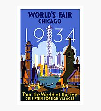 World's Fair Chicago 1934 Vintage Travel Poster Photographic Print