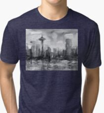 Seattle Skyline Painting Watercolor Tri-blend T-Shirt