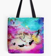 Never Grow Up Peter Pan Nebula Tote Bag