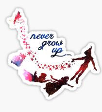 Never Grow Up Nebula Blue Sticker