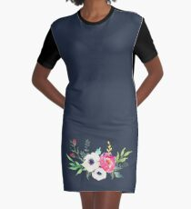 Anemone Peony Watercolor Bouquet Graphic T-Shirt Dress