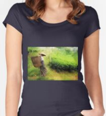 One Day In Tea Plantation Women's Fitted Scoop T-Shirt