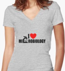 I love Microbiology Women's Fitted V-Neck T-Shirt