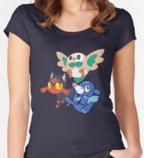 Pokemon Sun and Moon Starters Women's Fitted Scoop T-Shirt