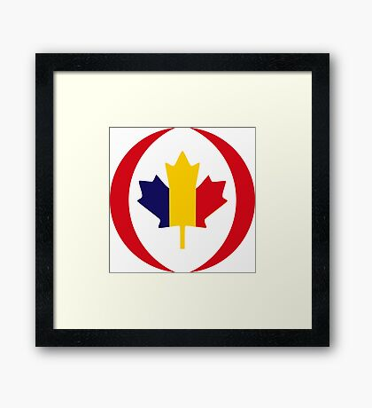 Romanian Canadian Multinational Patriot Flag Series Framed Print