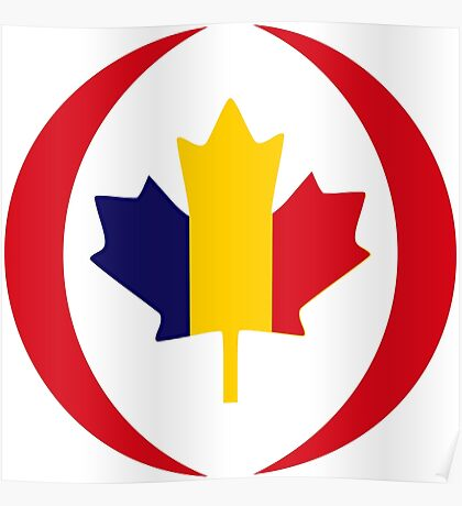 Romanian Canadian Multinational Patriot Flag Series Poster