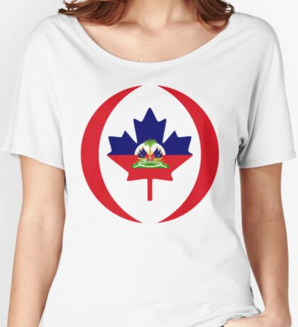 Haitian Canadian Multinational Patriot Flag Series Relaxed Fit T-Shirt