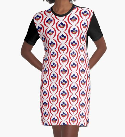 Haitian Canadian Multinational Patriot Flag Series Graphic T-Shirt Dress