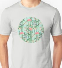 Bamboo, Birds and Blossom - soft blue green T-Shirt