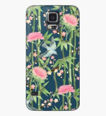 Bamboo, Birds and Blossom - dark teal Case/Skin for Samsung Galaxy