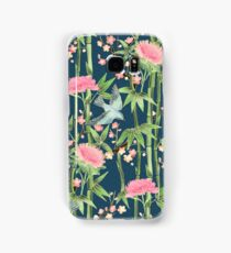 Bamboo, Birds and Blossom - dark teal Samsung Galaxy Case/Skin