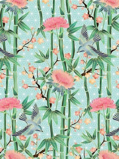 Bamboo, Birds and Blossom - soft blue green by micklyn