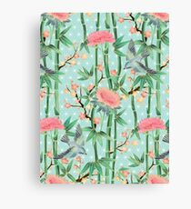 Bamboo, Birds and Blossom - soft blue green Canvas Print