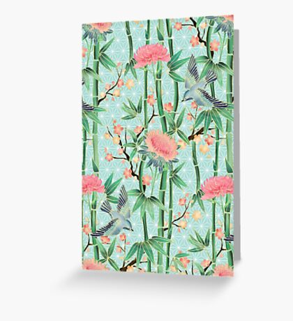 Bamboo, Birds and Blossom - soft blue green Greeting Card