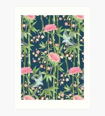 Bamboo, Birds and Blossom - dark teal Art Print