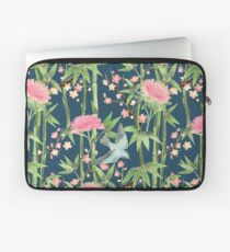 Bamboo, Birds and Blossom - dark teal Laptop Sleeve
