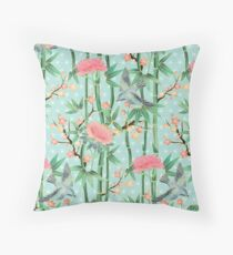Bamboo, Birds and Blossom - soft blue green Throw Pillow