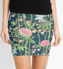 Bamboo, Birds and Blossom - dark teal Mini Skirt