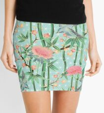 Bamboo, Birds and Blossom - soft blue green Mini Skirt